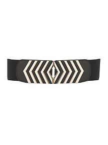 Gold Metallic Stripe Stretch Belt