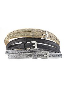Distressed Metallic 3 Piece Belt Set