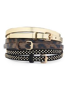 Animal, Metallic and Studded 3 Piece Belt Set
