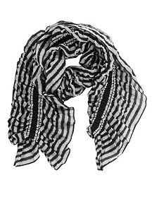 Metallic Striped Ruffle Bouncy Scarf