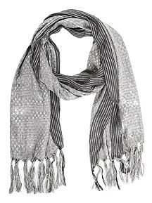 Metallic Dots and Stripes Oblong Scarf