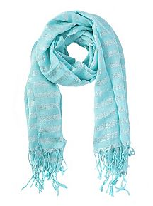 Metallic Stripe Oblong Scarf