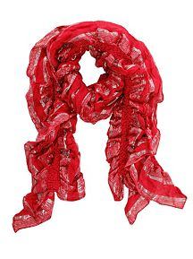 Bouncy Metallic Ruffle Oblong Scarf
