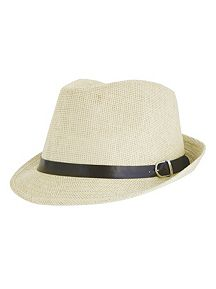 Straw Fedora with Leather Trim