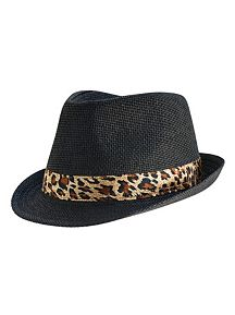 Leopard Band Straw Fedora