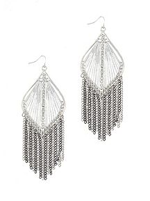 Threaded Teardrop Earring with Chain Fringe