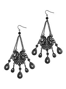 Chain Filigree Faceted Drop Earrings