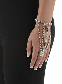 Chain and Rhinestone Ring Bracelet