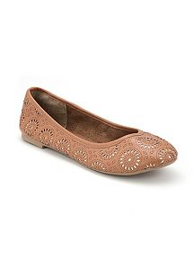 Perforated Floral Ballet Flat