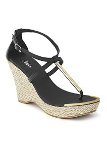 Straw and Metallic T-Strap Wedge Sandal
