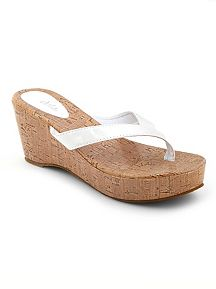 Pantent Cork Wedge Thong Sandal