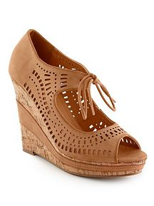 Perforated Lace Up Platform Wedge Sandal