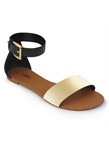 Metallic Ankle Wrap Sandal