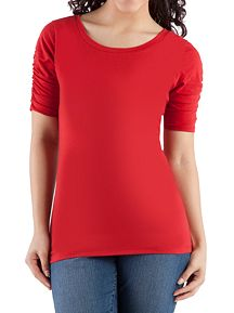 Short Sleeve Scoop Neck Rouched Sleeve Top