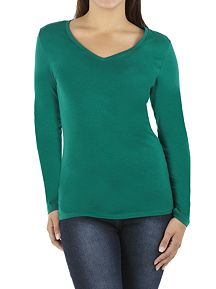 Long Sleeve Deep V-Neck Tee