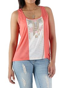 Stud and Foil Embellished Panel Tank