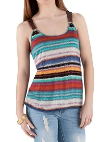 Leather Strap Striped Tank