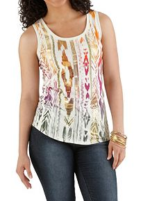 Foil Screen Tribal Print Tank with Burn Out Back