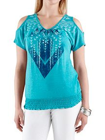 Aztec Print Cold Shoulder Smocked Bottom Top