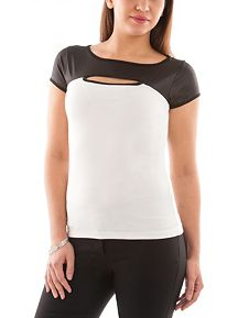 Short Sleeve Colorblock Cutout Coated Top