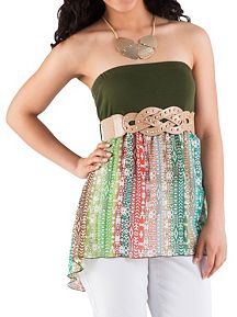 Tribal Print Belted Tube Top