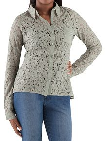 Long Sleeve Button Front Lace Top