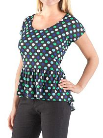Cap Sleeve Polka Dot Peplum Knit Top