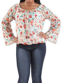 Long Sleeve Floral Lace Peasant Top