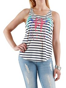 Aztec Print Striped Racer Back Tank