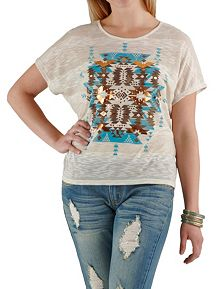 Aztec Print Graphic Top with Lace Back