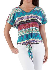 Burn Out Aztec Print Tie Front Top