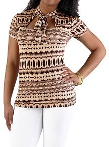 Short Sleeve Tribal Print Tie Neck Top