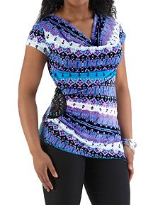 Drape Neck Tribal Print Top with Jeweled Side