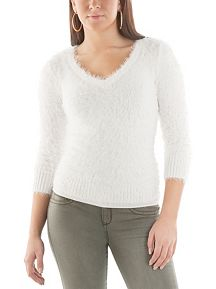 3/4 Sleeve Eyelash V-Neck Sweater
