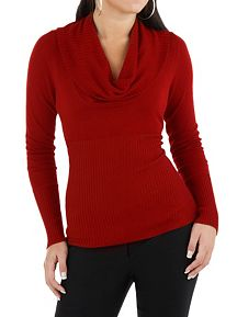 Long Sleeve Hi Ribbed Cowl Neck Sweater