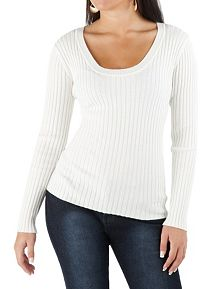 Long Sleeve Scoop Neck Ribbed Sweater