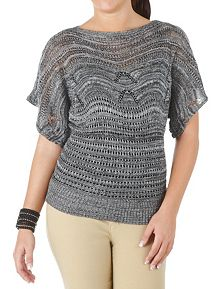 Short Sleeve Marled Open Work Sweater
