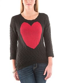 3/4 Sleeve Heart Slub Knit Sweater
