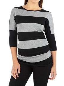 Striped Ruched Side Boatneck Tunic Sweater