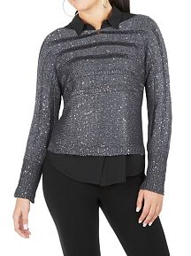 Long Sleeve Metallic Deconstructed Sweater