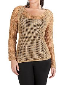 Long Sleeve Metallic Open Weave Sweater