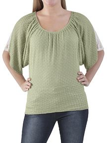 Dolman Sleeve Scoop Neck Sweater with Lace Back