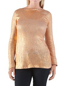 Long Sleeve Metallic Crew Neck Sweater