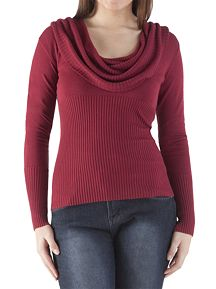 Long Sleeve High Rib Cowl Neck Sweater