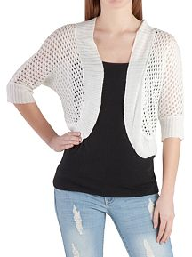Dolman Sleeve Open Work Cocoon Shrug Sweater