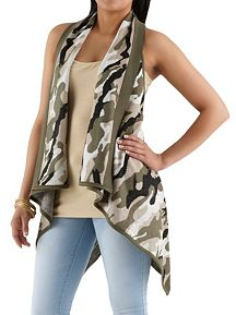 Camo Print Knot Back Sweater
