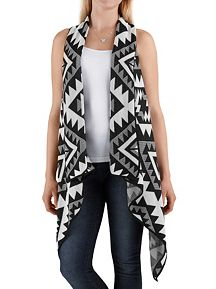 Tribal Print Knot Back Sweater Vest
