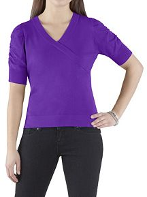 V-Neck Surplus Sweater with Rouched Sleeve
