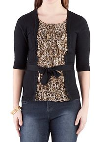 Belted Cardigan with Animal Print Tank