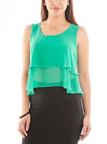Sleeveless Tiered Chiffon Crop Top